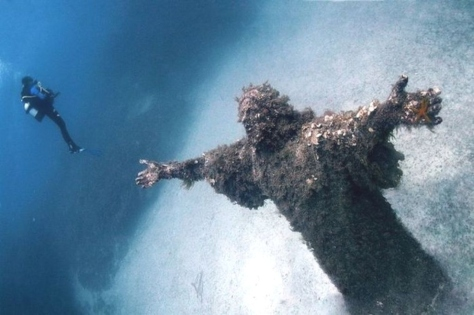 Christ of the Abyss - being photographed by a diver